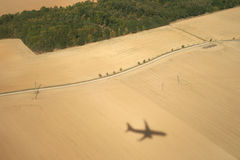 Shadow of a plane on a ground Royalty Free Stock Photo