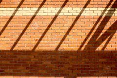 Shadow on new red brick wall Royalty Free Stock Image