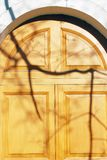 Shadow play on the wooden door. Stock Photo