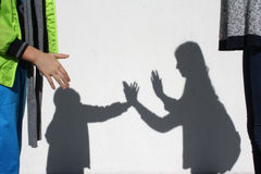 The shadow of playing children Stock Photo