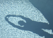 Shadow in the Pool. Shadow of a man over a pool, ready to dive Royalty Free Stock Photo