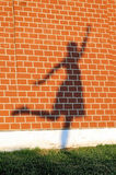 Shadow of the posing girl on a red brick wall. Shadow of the posing girl standing on one leg on a red brick wall Stock Photos