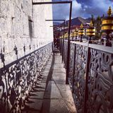 Shadow. The shadow of the prayer wheel Royalty Free Stock Image