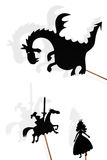 Shadow puppets of dragon, princess and knight on white backgroun Royalty Free Stock Image
