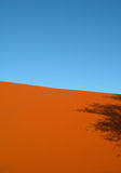 Shadow on red arid sand dunes Royalty Free Stock Photos