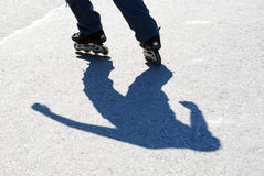 Shadow of a roller skater Royalty Free Stock Photo