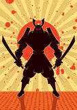 Shadow Samurai. Cartoon illustration of samurai warrior. No transparency and gradients used Royalty Free Stock Photography