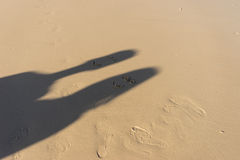 Shadow on sand feel happy. Concept image on sand feel happy Royalty Free Stock Photo