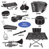Shadow set with musical instruments, vector cartoon collection Royalty Free Stock Photos