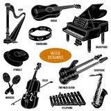 Shadow set with musical instruments, vector cartoon collection Stock Image
