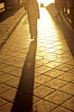 Shadow on sidewalk. Of person in colonial city of Cuenca- Ecuador Royalty Free Stock Photo