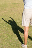 Shadow silhouette arms up success woman Stock Image