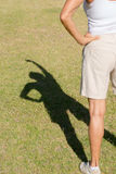 Shadow silhouette arms up woman Stock Photo