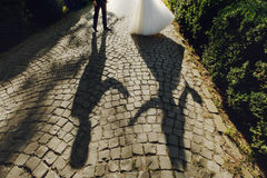 Shadow silhouette of beautiful bride and handsome groom dancing Royalty Free Stock Photos