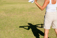 Shadow silhouette fit active woman Royalty Free Stock Photos