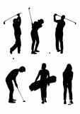 Shadow of six golfers Royalty Free Stock Photo