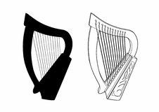 Shadow of a small harp. Vector illustration of a musical instrument, EPS 8 file Royalty Free Illustration