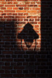 Shadow of a street lamp on an old brick wall, unusual background Royalty Free Stock Photography