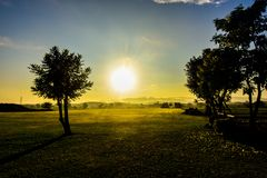 The shadow while the sun is rising. In the atmosphere of winter in northern Thailand royalty free stock photo