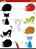 Shadow task with cats for children Stock Images