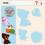 0116_7 shadow. Task find right shadows, preschool or school exercise task for kids Stock Photo