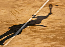 Shadow Tennis Serve Royalty Free Stock Photo