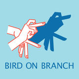 Shadow Theater. Hands gesture like bird on branch. Vector illustration of Shadow Hand Puppet. Royalty Free Stock Photo