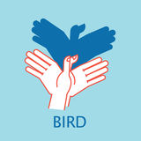 Shadow Theater. Hands gesture like flying bird. Vector illustration of Shadow Hand Puppet. Royalty Free Stock Image