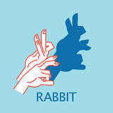 Shadow Theater. Hands gesture like Rabbit. Vector illustration of Shadow Hand Puppet. Royalty Free Stock Photography