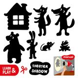 Shadow theater. Use scissors cut contour of animals and house turn on lamp and play using cut shapes. Learn and play at royalty free illustration