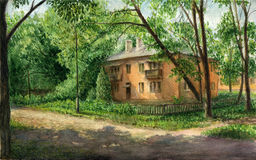 Shadow of the trees. Sunny day. Small park on the outskirts of the city. A little old house is immersed in the lush greenery. Watercolor landscape, 20x12.5 Stock Images