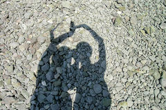 Shadow two girls holding hands royalty free stock images