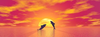 Dolphins by sunset - 3D render Stock Image