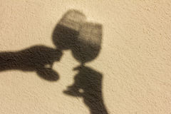 Shadow of wine glasses Royalty Free Stock Photo