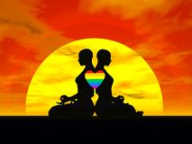 Lesbian yoga love - 3D render Stock Photo