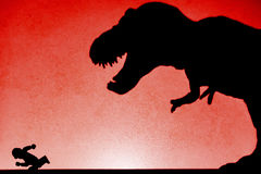 Shadow of tyrannosaurus chasing human on wall no logo Royalty Free Stock Photos