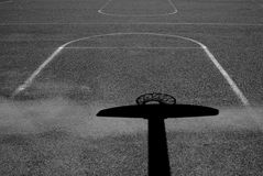 Shadow of Urban Basketball Hoop Inner City Wall and Asphalt Stock Images