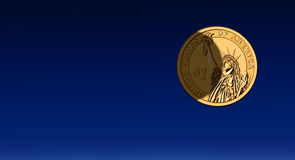 Shadow on US dollar - moon, night sky. Shadow is on the one US dollar coin as the moon . Night sky panorama is free for your text Royalty Free Stock Photo