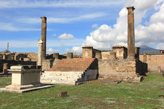 In the shadow of Vesuvius. Temple ruins in Pompeii, Italy Royalty Free Stock Images