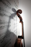 Shadow of violin Stock Images