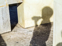 Shadow of a visitor at the Jantar Mantar in Jaipur Royalty Free Stock Photography