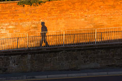 Shadow walking down the slope against a red brick wall Royalty Free Stock Image