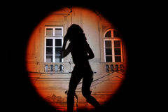 Shadow of a woman on the wall Royalty Free Stock Photos