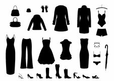 Shadow women`s clothing. Set of clothing for women, EPS 10 file Stock Illustration