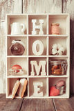 The Shadowbox home. Shadow box with wooden letters home and cozy things Royalty Free Stock Photography