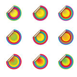 Shadowed coloured pop stickers. Commercial pop stickers in various colors over white Royalty Free Stock Images