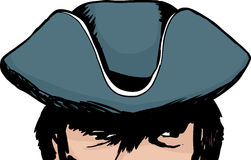Shadowed eyes of man in tricorn hat Royalty Free Stock Photo