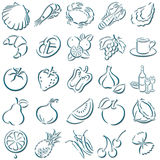 Shadowed food symbols. Collection of darkblue shadowed food symbols Royalty Free Stock Image