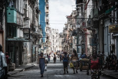 Shadowed Havana Streets Cuba Royalty Free Stock Photography