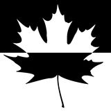 Shadowed Maple Leaf Silhouette. Half shaded carved maple leaf. EPS10 vector illustration Royalty Free Stock Images